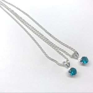2 Blue TOPAZ necklace silver PENDANT CHAIN set BFF